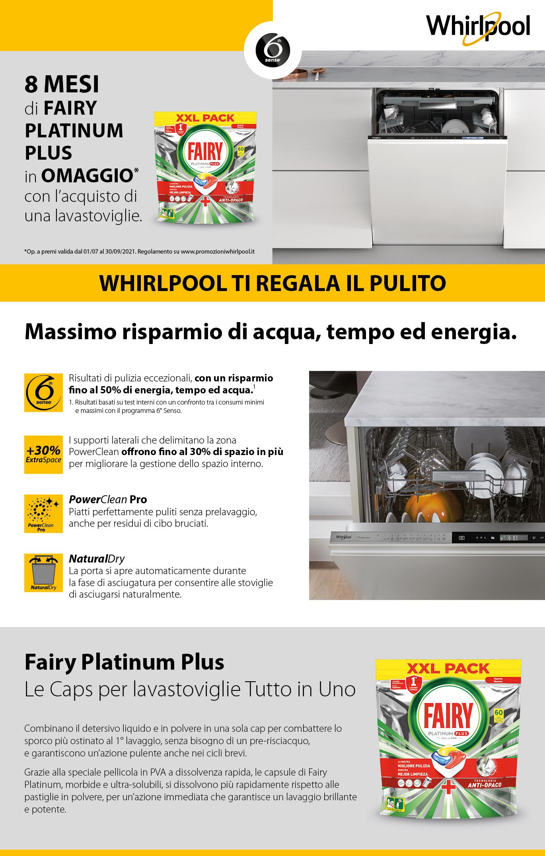 Promozione Grandi Elettrodomestici: Whirlpool regala 8 mesi Fairy