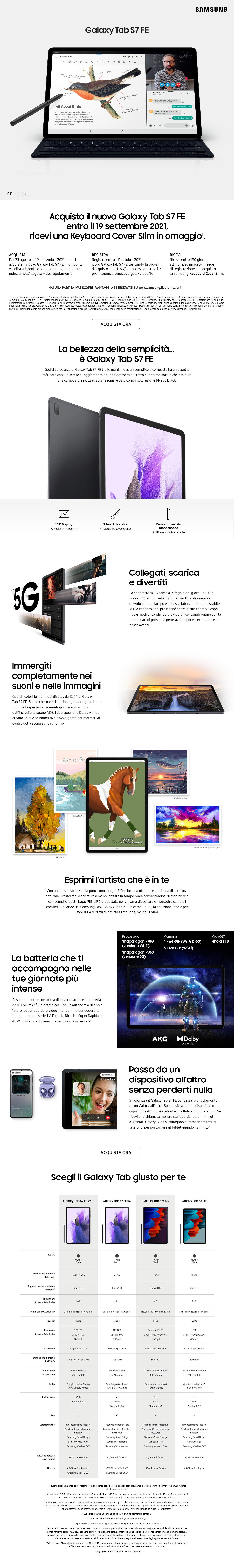 Promozione Computer e Tablet: Samsung Tab S7FE Lancio